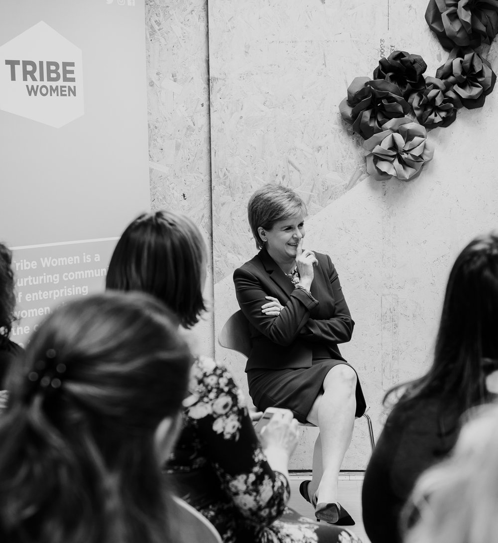 Nicola Sturgeon. First Minister of Scotland. Regardless of what side of the political fence you sit on, I feel that she is phenomenal- creating and carving her path in a masculine world. She launched Tribe Women on International Women's Day 2018 and I love this photo of her… a moment of unguarded laughter. She is an astute politician…. but she is also very human.
