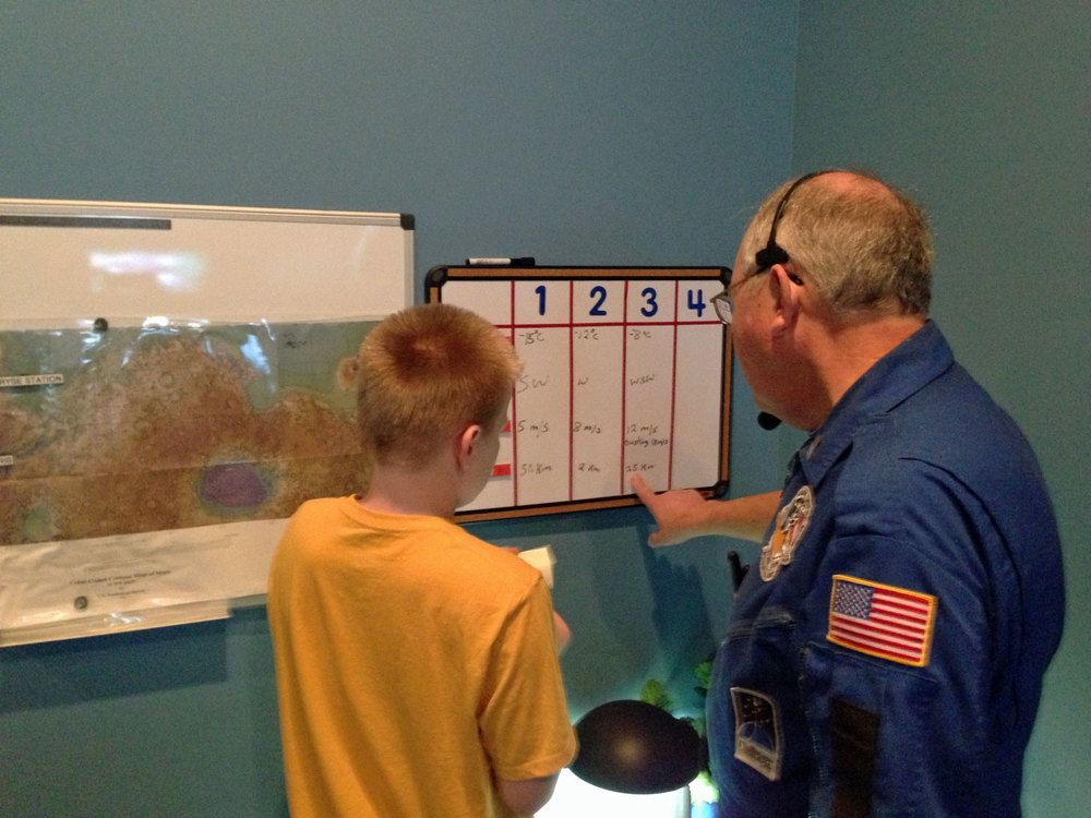 "Temperature, wind direction, wind velocity and visibility are measured on a ""Voyage to Mars."""