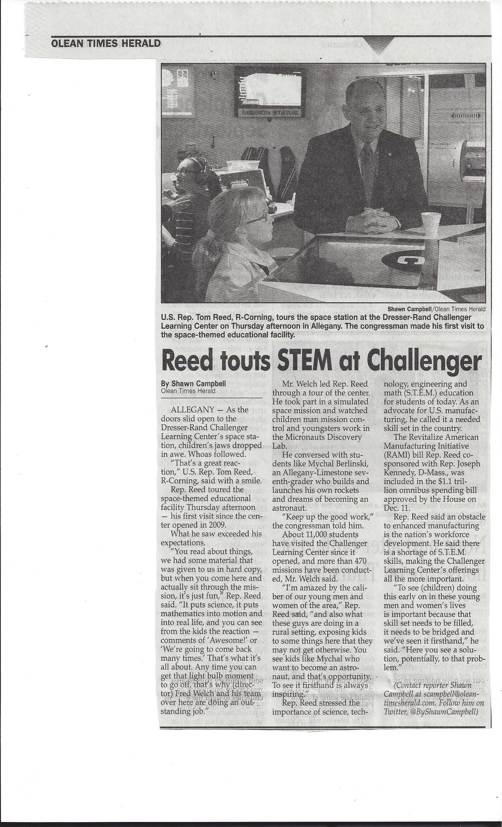December 19, 2014 Olean Times Herald article