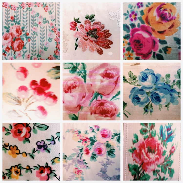 Merci sells little antique fabric samples, here is little collage I made of some of the rosy fabrics I found there