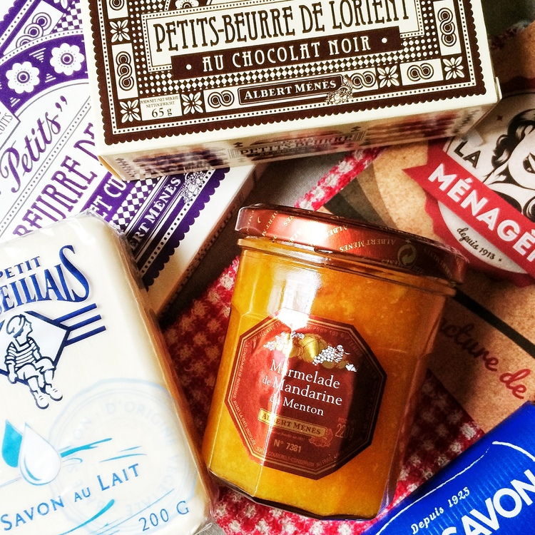 Some of the shopping I did, my favorite french soaps, Petite Lu and mandarine marmalade