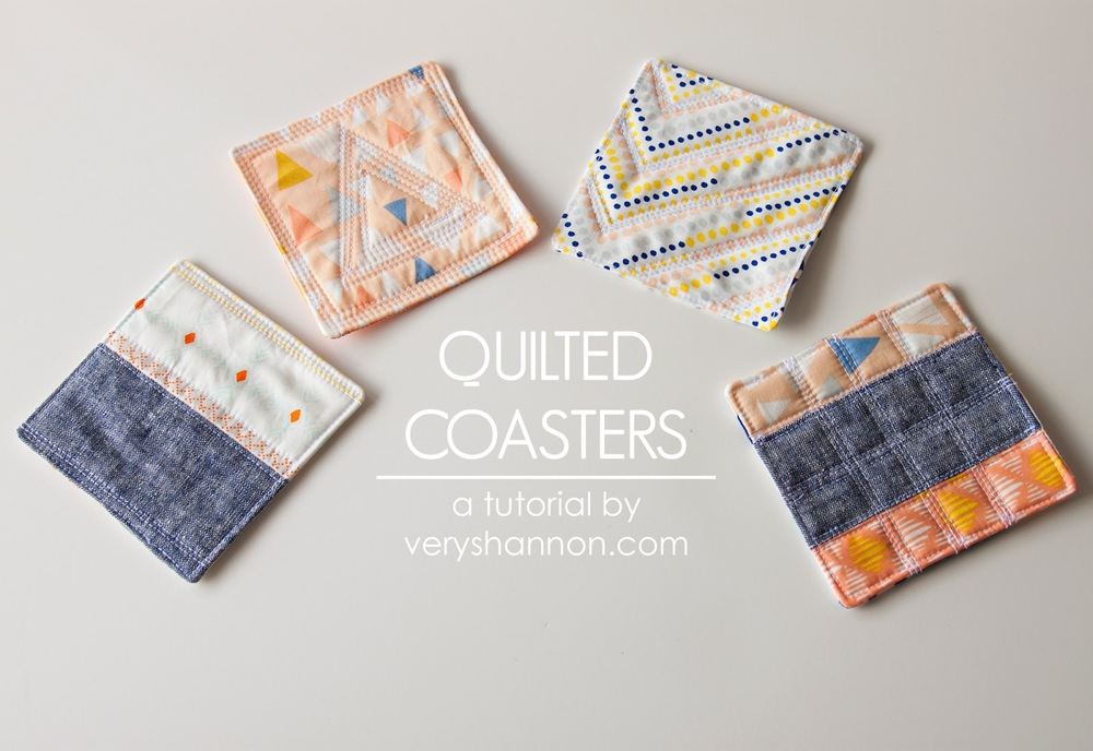 Quilted Coasters Tutorial ||| VeryShannon.com #coaster #quilted #sewing #tutorial