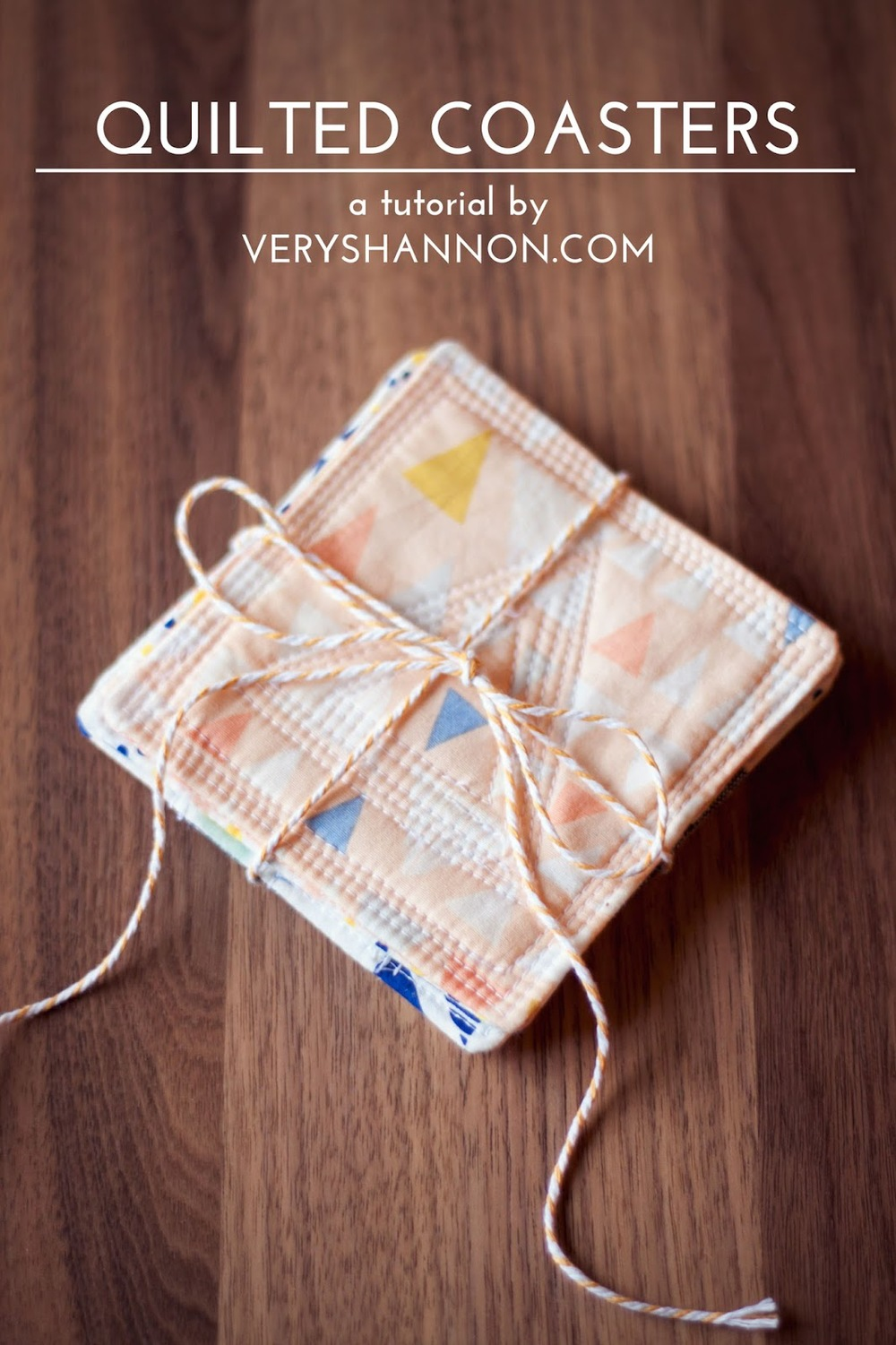 Modern Quilted Coasters Tutorial ||| VeryShannon.com #coaster #quilted #sewing #tutorial