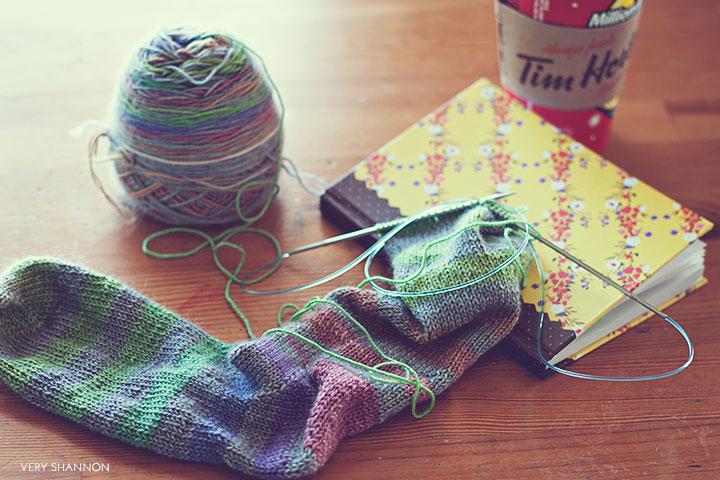 Tim Horton's and knitting \\ www.veryshannon.com