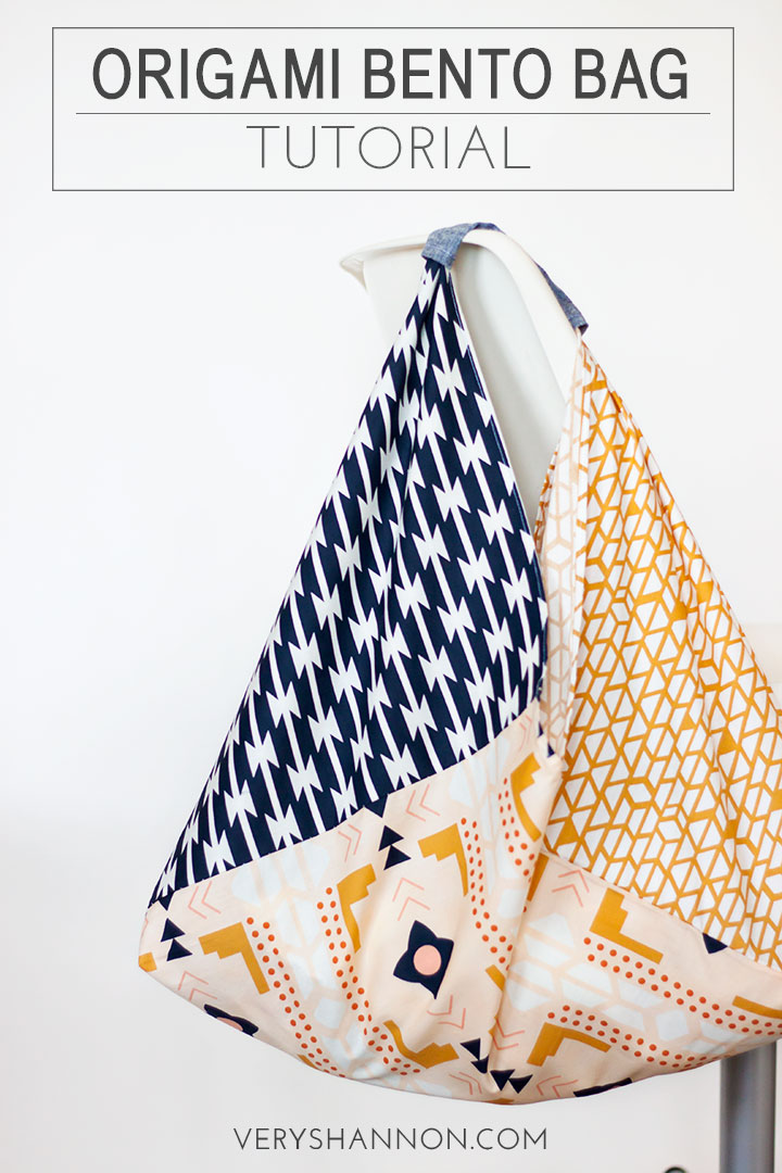 Origami Bento Fat Quarter Bag Tutorial // VeryShannon.com #sewing #tutorial #origami #bento #bag