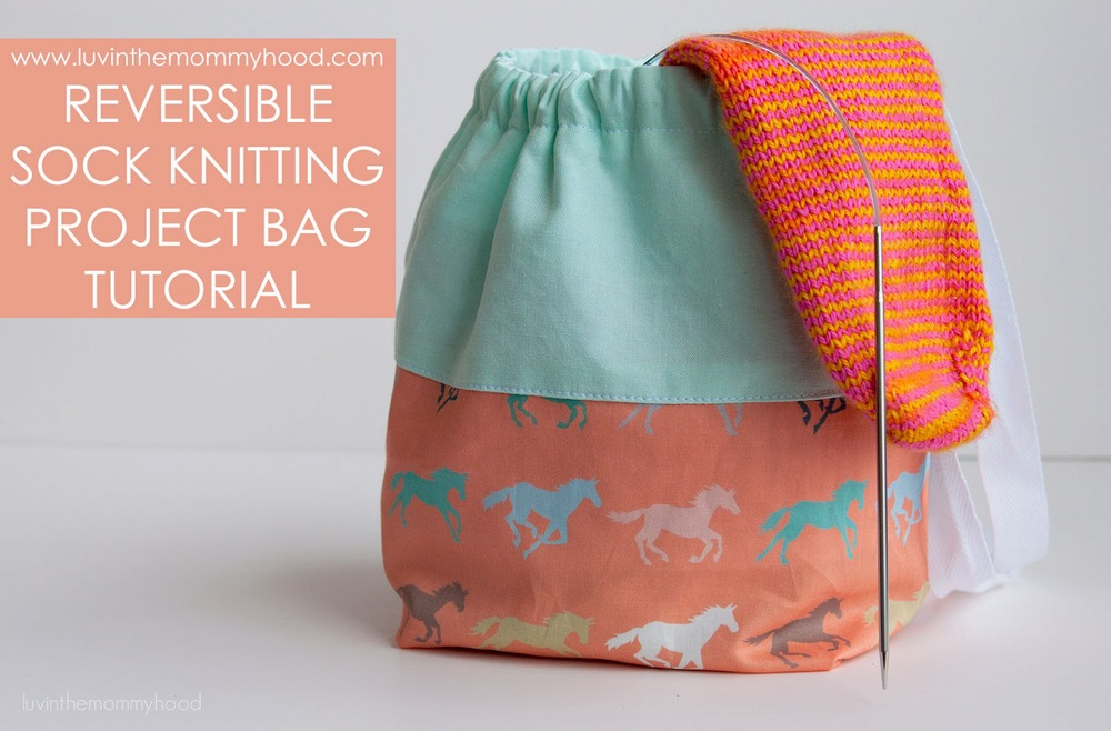 Knitting Bag Pattern To Sew : FREE TUTORIAL REVERSIBLE SOCK KNITTING PROJECT BAG   VERY SHANNON