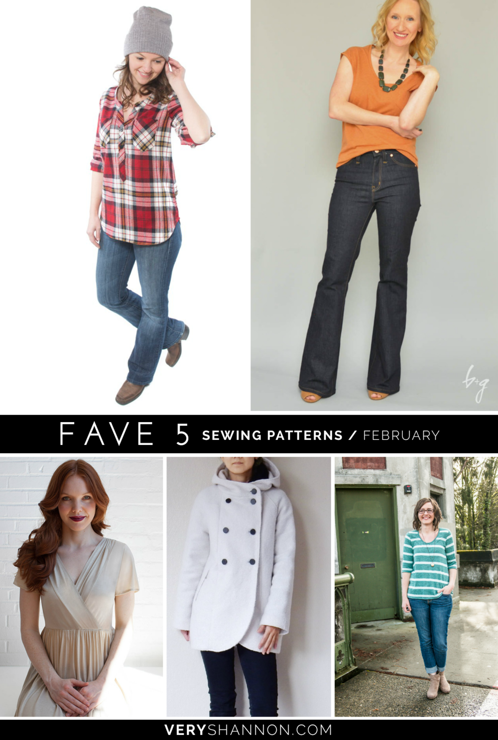 FAVE 5 Sewing Patterns February on VeryShannon.com