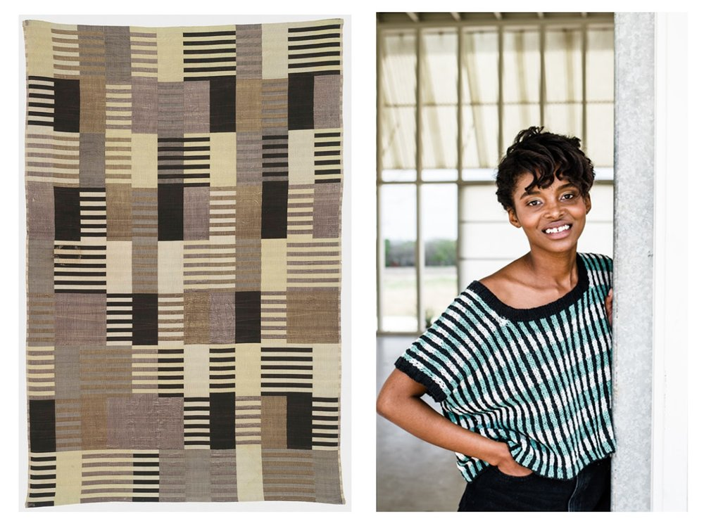 LEFT:  Anni by Gina Röckenwagner  / RIGHT:  Anni Albers, Design for a 1926 Unexecuted Wall Hanging (1926)