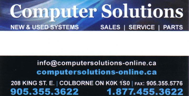 Computer Solutions is your local store for sales and service of computers and accessories as well as office supplies. We perform repairs on desktops, laptops, and peripherals. For over 15 years, we have firmly believed that building long-term relationships with clients is the best way to help individuals reach their computer needs at each stage of their lives. www.computersolutions-online.ca