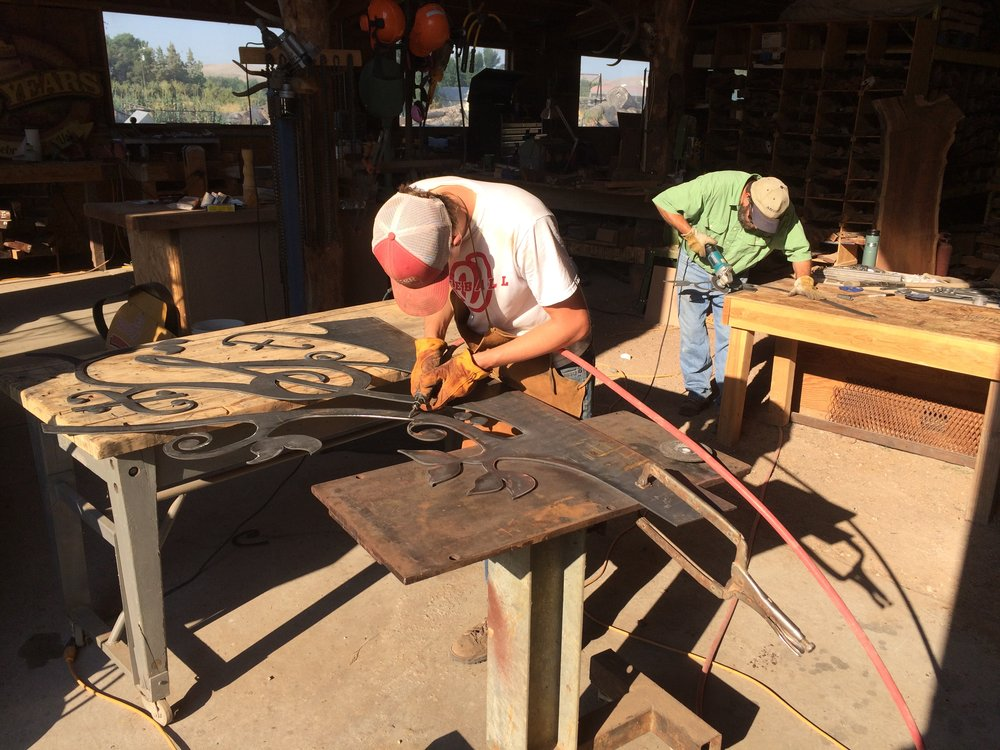 "Matt and mark clean up some rough edges on a steel ""music tree"" before it gets paint and patina."