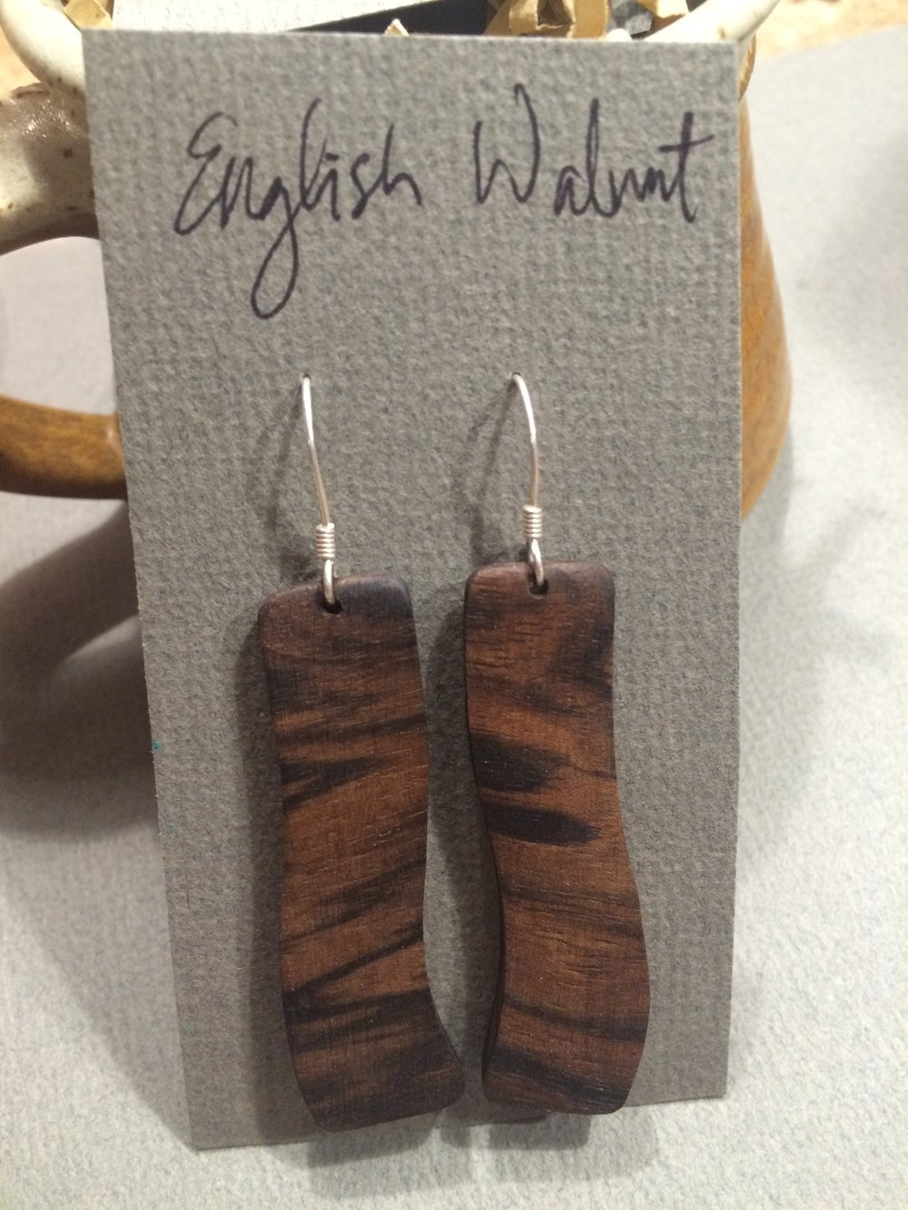 English Walnut Curvy Tiger Stripe Earrings