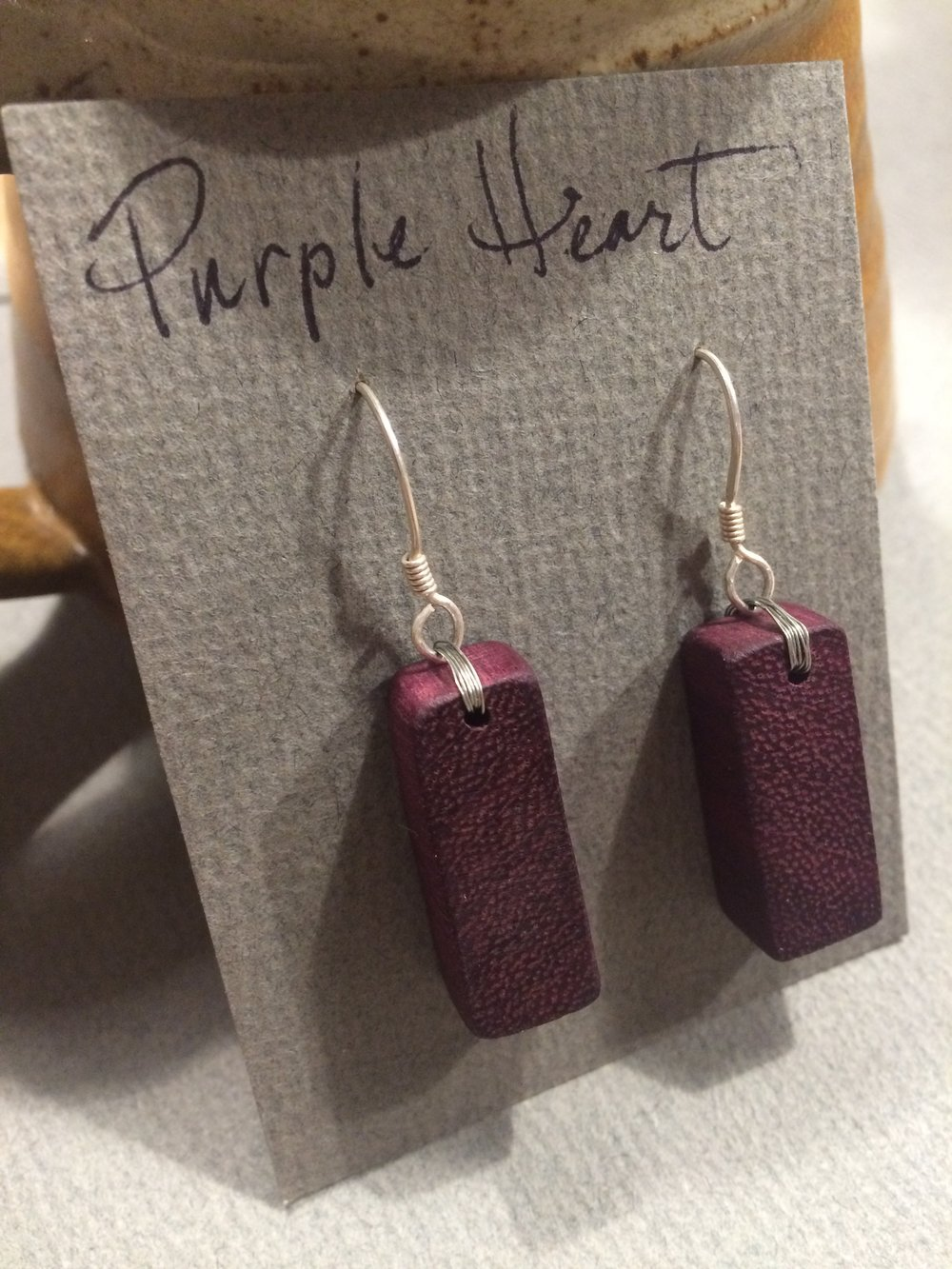 Purple Heart Wood Block Earrings