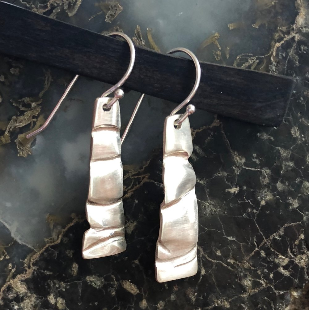 Sterling Silver Deep Waves Earrings