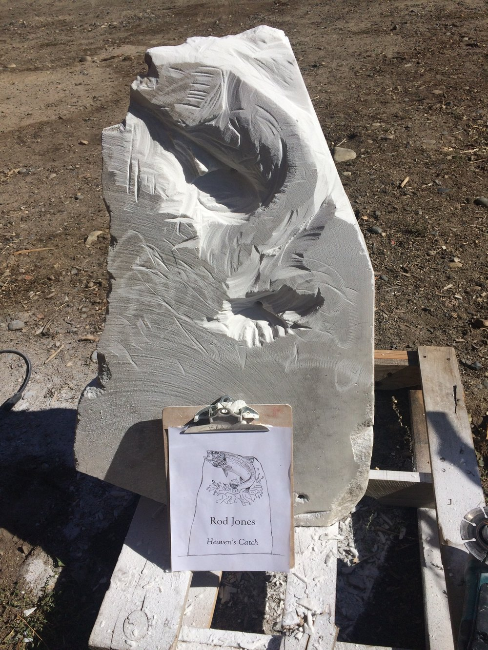 marble trout fish memorial, in progress