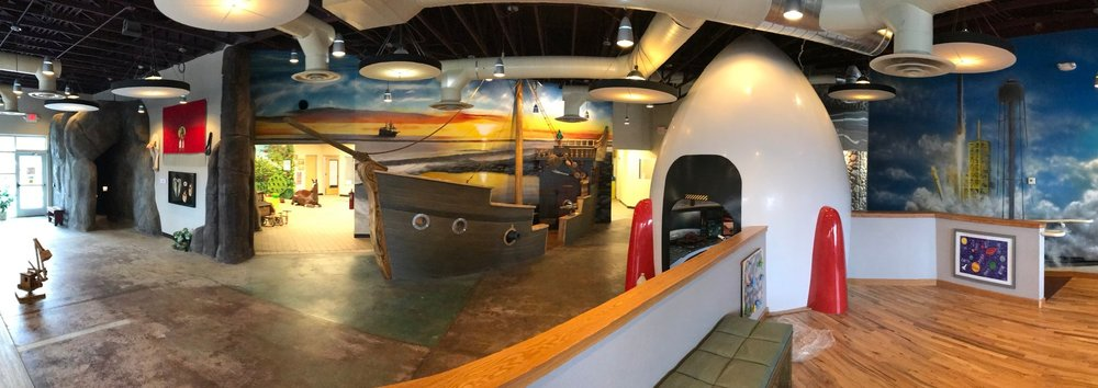 Rock cave, pirate ship, and rocket ship, all together at the    children's museum of idaho   !