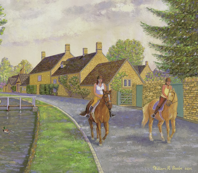 Riding Alongside the Little Eye Stream, Cotswolds  , by William R. Beebe