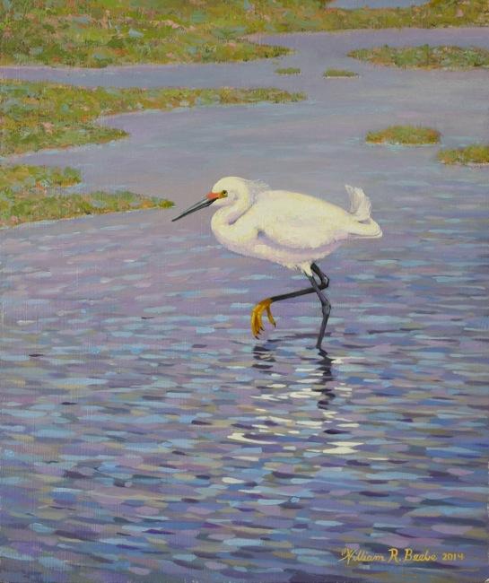 Snowy Egret Slow Walking  , 10 x12, Oil on Board, by William R. Beebe