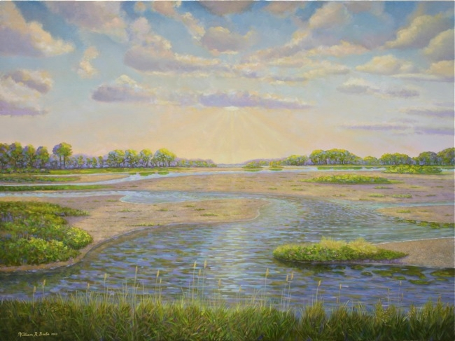 Sunrise over the Salt Marsh , 30 x 40, Oil on canvas by William R. Beebe   SOLD