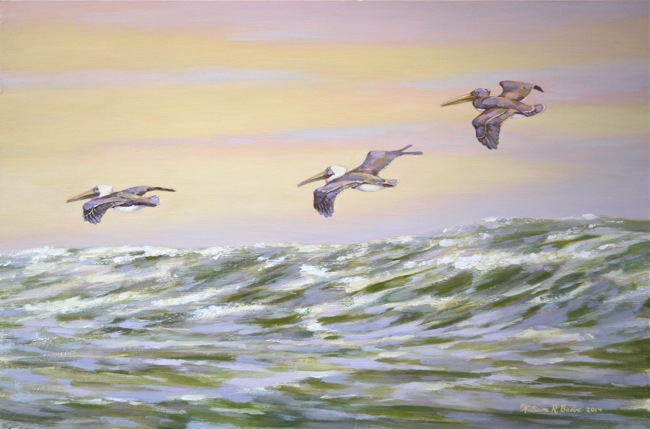 Pelicans Twilight Flight , by William R. Beebe, 12 x 18, oil on board, $2100