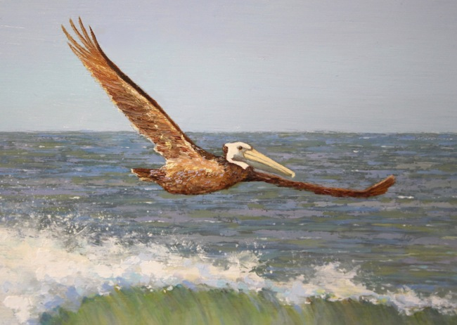 Riding the Wave by William R. Beebe, (detail shot), 12 x 20, Oil on board, SOLD
