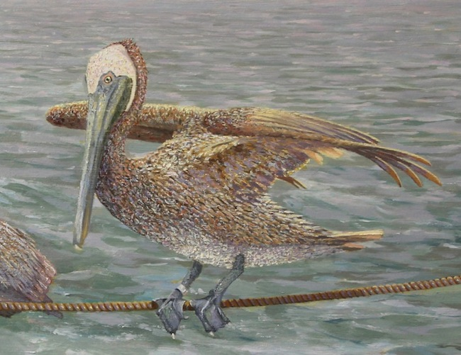 Balancing Act  by William R. Beebe, (detail shot), 12 x 14, oil on board, SOLD