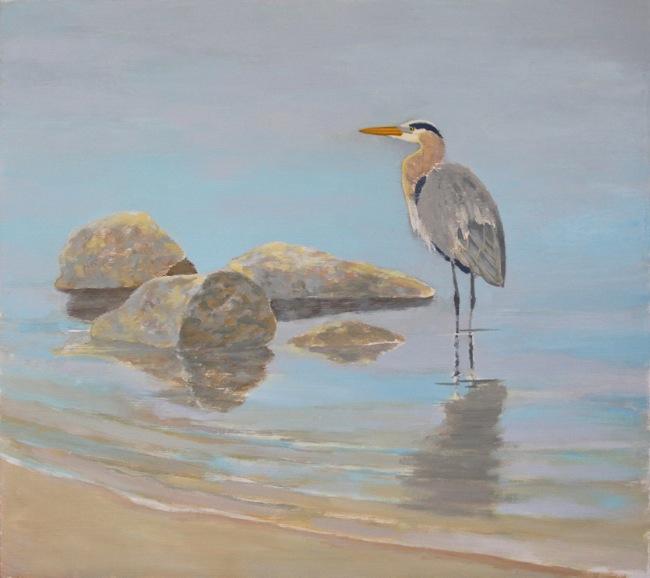 Blue Heron painting underway by William R. Beebe