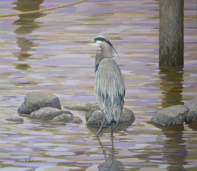 Two Rivers Heron, 14 x 16, Oil on Board, by William R. Beebe, $2800