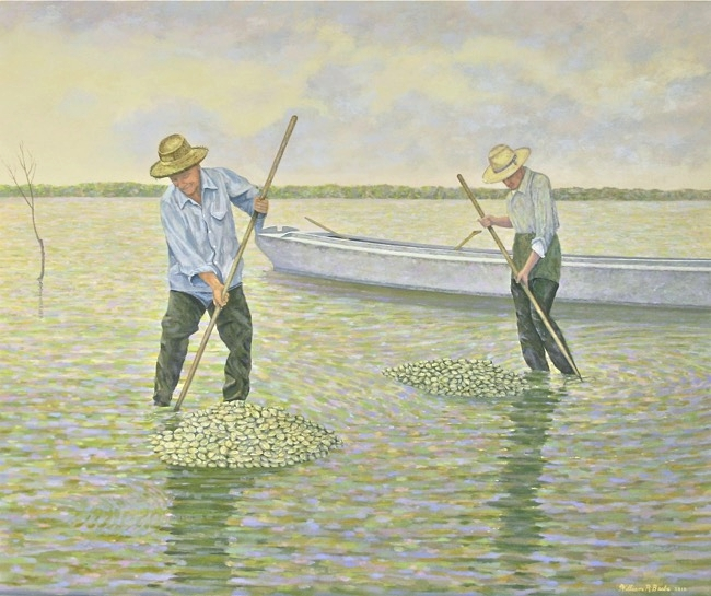 Raking Clams    by William R. Beebe, 30 x 36, oil on canvas, $3900