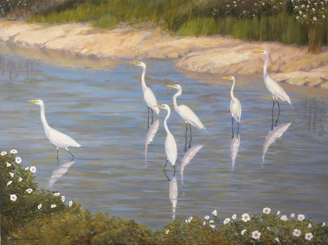 The Egrets and Mallows of Blackwater    by William R. Beebe, 30 x 40, oil on canvas, $6500