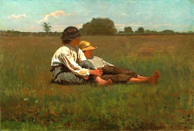 Boys in a Pasture   by Winslow Homer, 1874