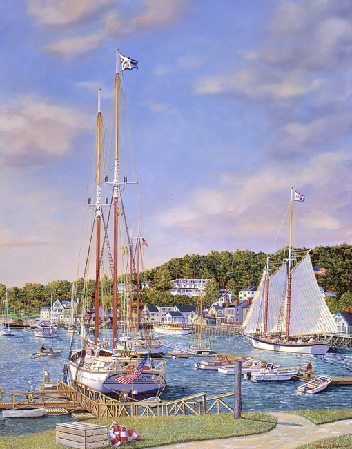 Summer in Camden Harbor    by William R. Beebe, Lithographic and giclee print