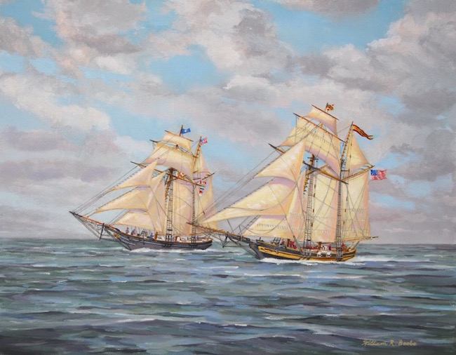 Clippers on the Bay by William R. Beebe, 11 x 14, oil on canvas, $2500