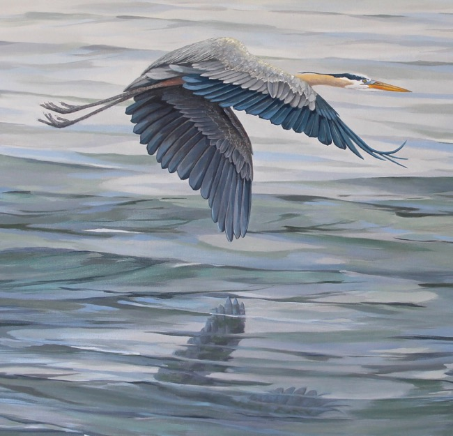 Blue Morning   (close-up) by William R. Beebe, 24 x 48, oil on canvas, commissioned