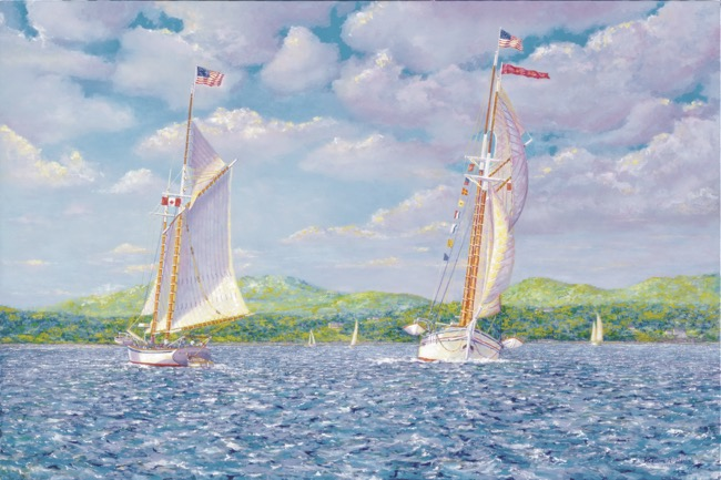 Schooners on the Bay    by William R. Beebe, giclee image size 29 x 43