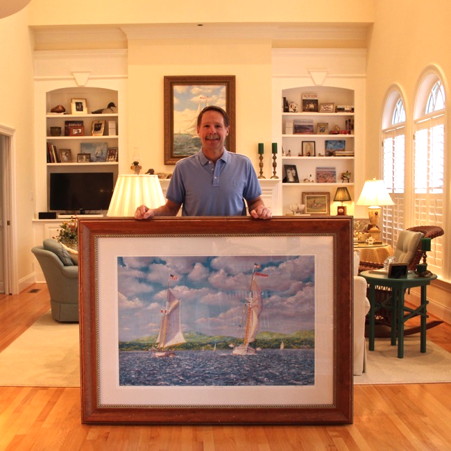 William R. Beebe with    Schooners on the Bay   , framed 46 x 61, $1400