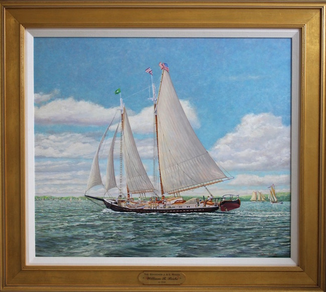 The Schooner J. & E. Riggin    by William R. Beebe, 26 x 30, oil on board, $15,000  MERIT AWARD WINNER AT THE COOS ART MUSEUM IN COOS BAY OREGON