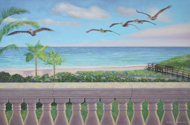 Pelicans in Paradise,  24 x 36, oil on canvas, by William R. Beebe
