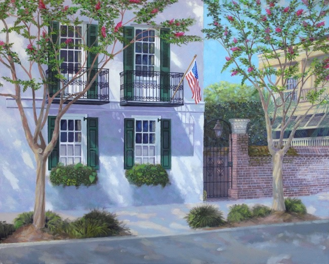 Meeting Street home (untitled and unfinished) by William R. Beebe, 24 x 30, oil on canvas