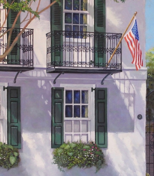 3 Meeting Street by William R. Beebe, detail shot of flag and balcony