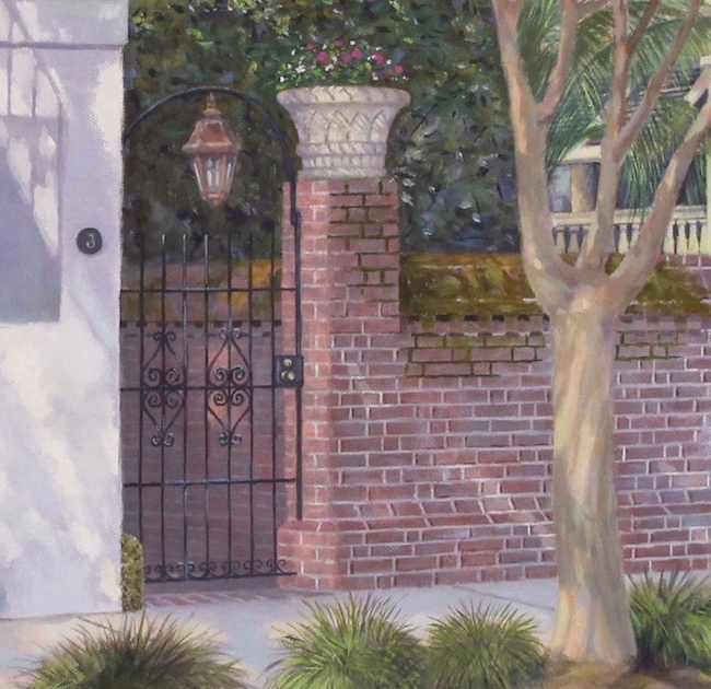 3 Meeting Street by William R. Beebe, detail shot of gate and lantern