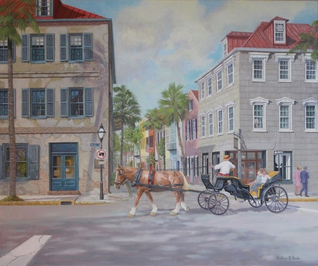 Touring the French Quarter in Charleston, by William R. Beebe, 30 x 36, oil on canvas, $9500