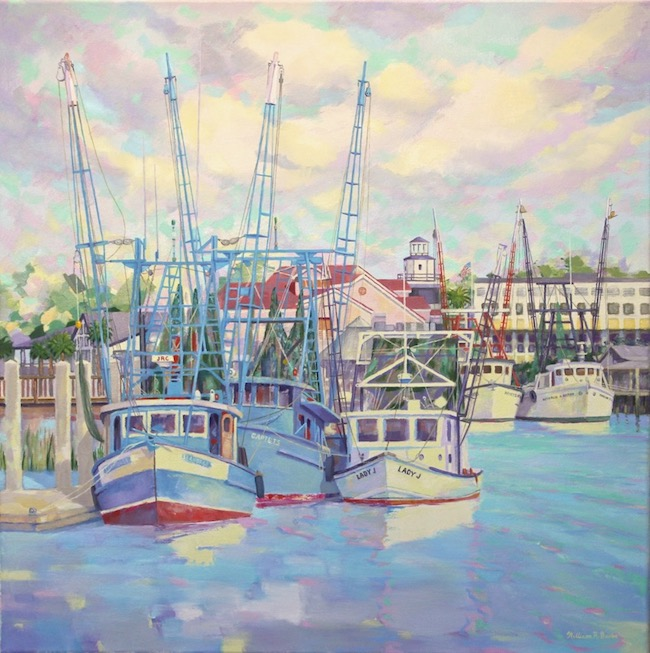 Shem Creek Waterfront    by William R. Beebe, 24 x 24, Oil on canvas, $5200
