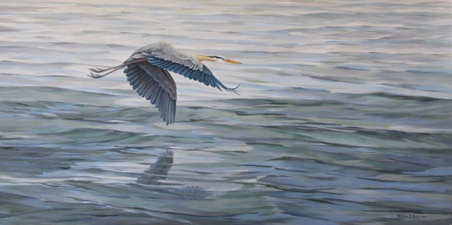 Blue Morning   by William R. Beebe, 24 x 48, Oil on Canvas, Commissioned/SOLD