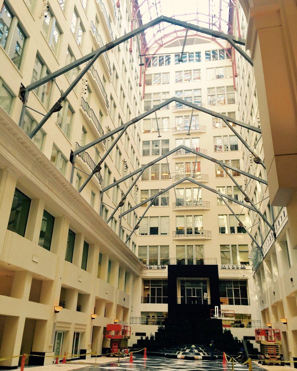 The Atrium at Curtis Center - Steel Armature Erection.