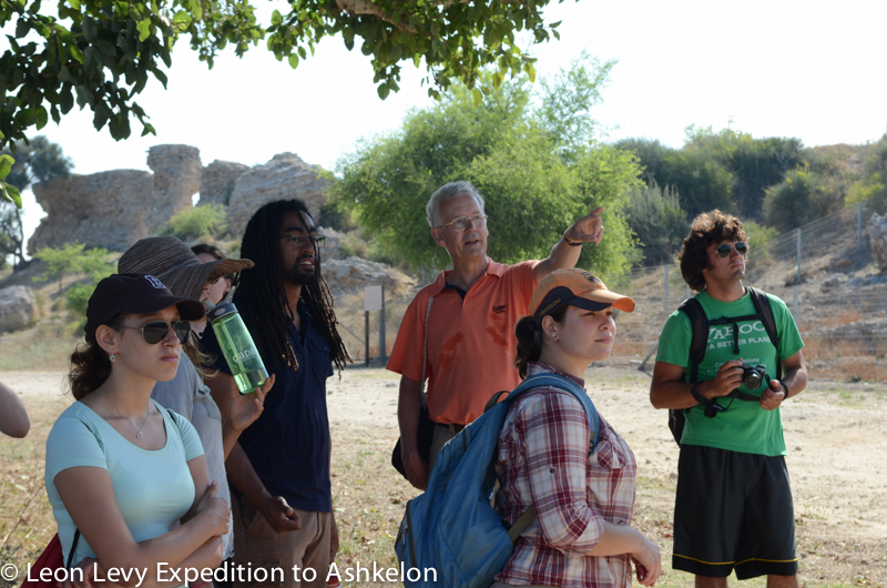Volunteers listen to Denys Pringle on the Late Periods (Roman - Crusader) Site Tour