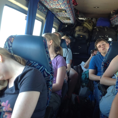 Tired staff members after a three day tour...
