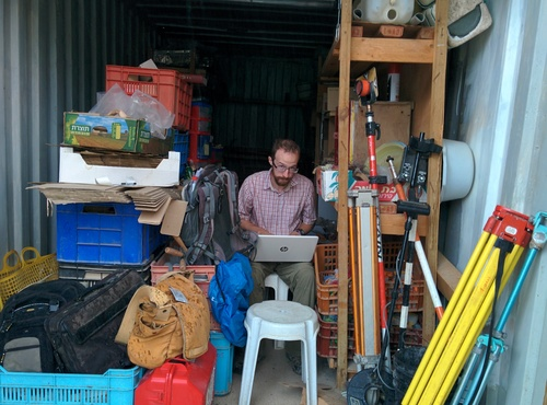 "A cramped but serviceable ""office"""