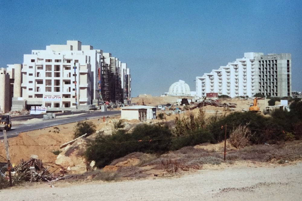 Leonardo Hotel under construction (grey expanse on right)