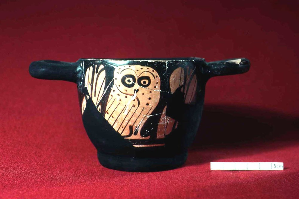 Attic Red-figured cup with an owl.