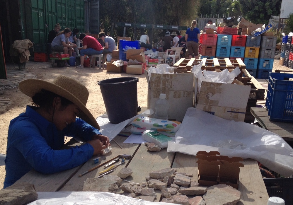 Angie working on fresco fragments from the church near the Jerusalem Gate